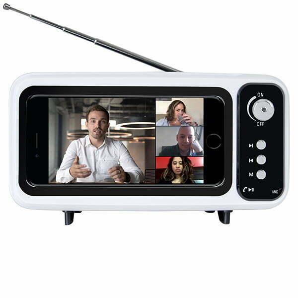 רמקול Bluetooth בעיצוב TV כולל רדיו ומעמד לנייד